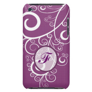 Purple Background White Swirls Monogram Barely There iPod Covers