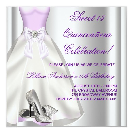 Purple Ball Gown High Heel Shoes Quinceanera 13 Cm X 13 Cm Square Invitation Card