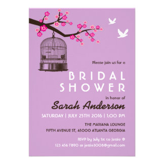 Purple Bird Cage Floral Bridal Shower Invitation
