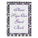 Purple, Black and White Damask Table Card