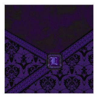Purple Black Goth Lace Wedding Personalized Invitations