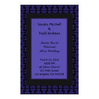 Purple Black Pattern Wedding Stationery