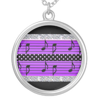 Purple & Black Polka Dot Diamonds & Musical Notes Silver Plated Necklace