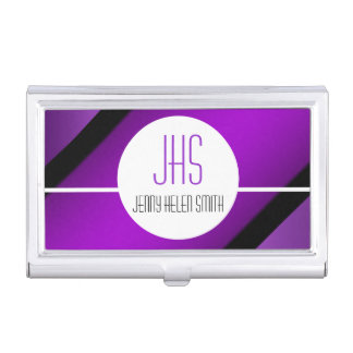 Purple black professional monogram stripes business card cases