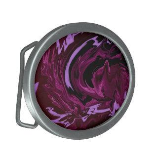 Purple Black swirls Belt Buckle