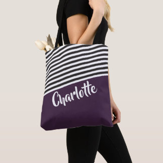 Purple Black White Striped Pattern Personalised Tote Bag