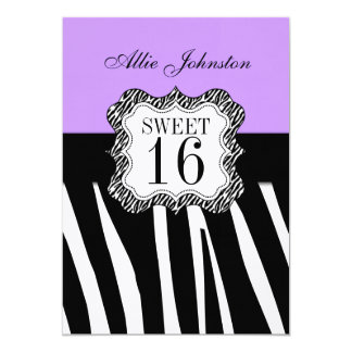 Purple Black Zebra Stripe Sweet 16 Birthday 13 Cm X 18 Cm Invitation Card