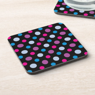 Purple Blue and Pink Polka Dots Pattern Coaster