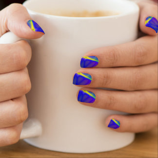 Purple Blue and Yellow Modern Fractal Nail Art