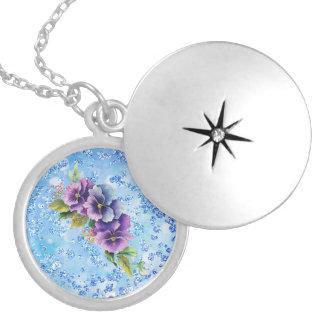 Purple & Blue Floral Blue Bokeh Bling Locket Necklace