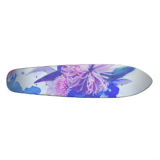 Purple, Blue & Teal Floral Printed Longboard 21.3 Cm Mini Skateboard Deck