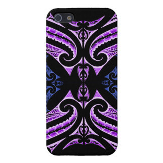 Purple blue traditional Maori tattoo design iPhone 5/5S Covers
