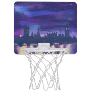 Purple Blue Yellow Art Sunset Over London Painting Mini Basketball Hoop