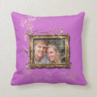 Purple brown wedding anniversary photo cushion