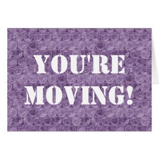 Purple bubble wrap housewarming card
