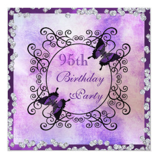 Purple Butterflies & Diamonds 95th Birthday 13 Cm X 13 Cm Square Invitation Card