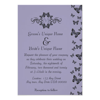 Purple Butterflies Monogram Wedding Card