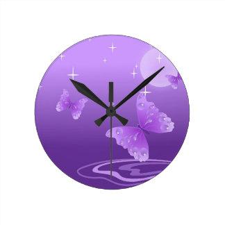 Purple Butterfly Animals Beautiful Love Destiny Clocks