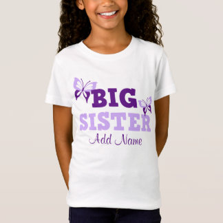 Purple Butterfly Big Sister Personalized T-Shirt