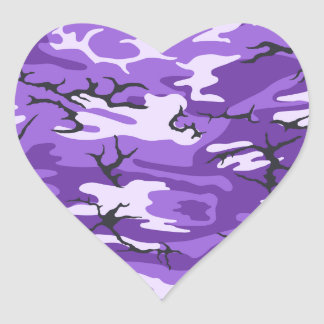 Purple Camo Heart Sticker