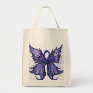 Purple Cancer Ribbon with Butterfly Wings Grocery Tote Bag