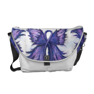 Purple Cancer Ribbon with Butterfly Wings Courier Bag