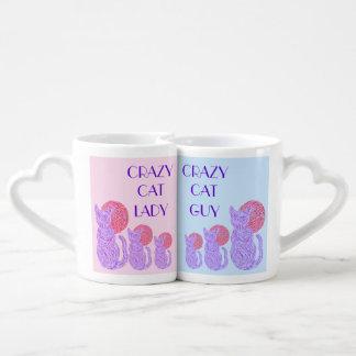 Purple Cat And The Moon Crazy Cat Guy & Lady Mugs Couples Mug