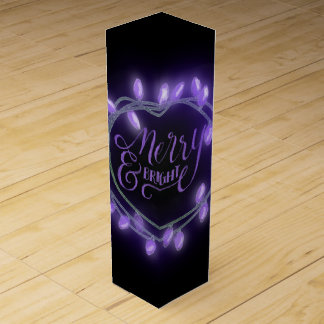 Purple Chalk Drawn Merry and Bright Holiday Wine Box