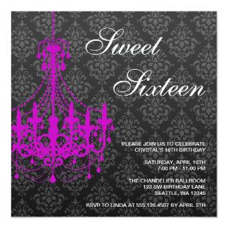 Purple Chandelier Black Damask Sweet 16 Birthday 13 Cm X 13 Cm Square Invitation Card