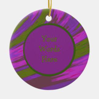Purple chartreuse Color Swish Abstract Christmas Ornament