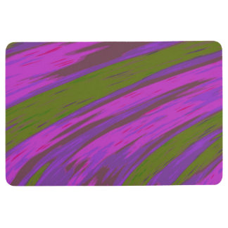 Purple chartreuse Color Swish Abstract Floor Mat
