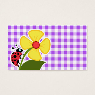 Purple Checkered Gingham; Ladybug Business Card