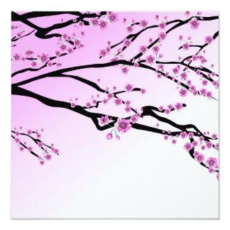 Purple Cherry Blooms 13 Cm X 13 Cm Square Invitation Card