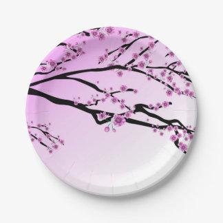 Purple Cherry Blossom Sakura Paper Plate