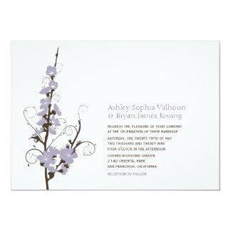 Purple Cherry Blossoms Sakura Swirl Wedding Invite