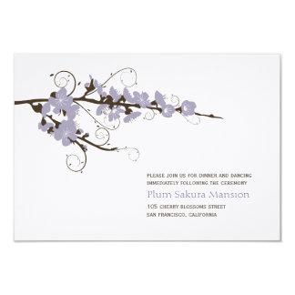 Purple Cherry Blossoms Sakura Wedding Reception 9 Cm X 13 Cm Invitation Card