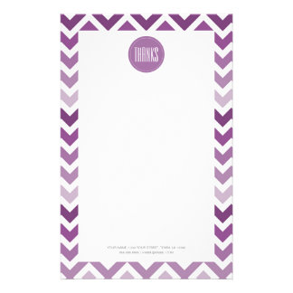 Purple Chevron Ombre ZigZag Thank You Thanks Stationery