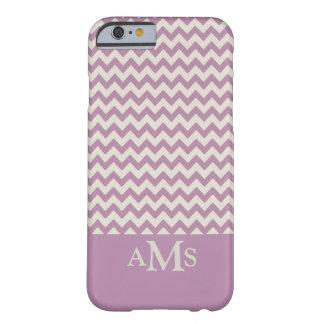 Purple Chevron Stripe 3 Monogram Barely There iPhone 6 Case
