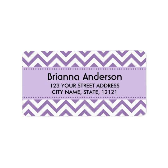 Purple chevron zigzag pattern return address label