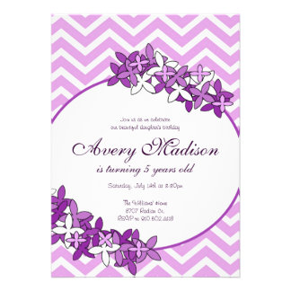 Purple ChevronModern with flower floral invitation