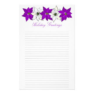 Purple Christmas Poinsettia Lined Writing Paper Personalized Stationery