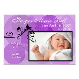 Purple Circles & Black Birds-3x5Birth Announcement