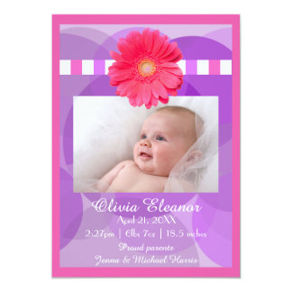 Purple Circles with Pink Daisy -Birth Announcement