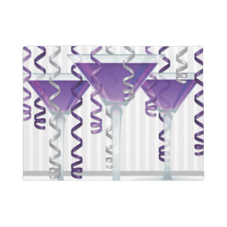 Purple cocktail and ribbon doormat