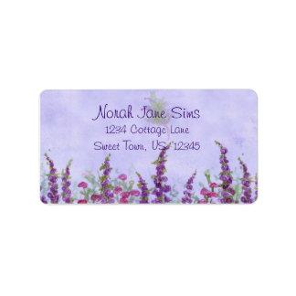 Purple Cottage Garden Watercolor Flowers Address Label