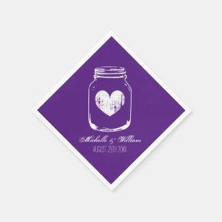 Purple country chic mason jar wedding napkins disposable napkin