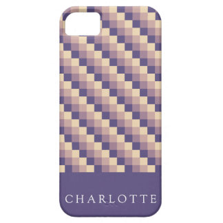Purple Cream Pixel Pattern Barely There iPhone 5 Case