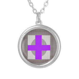Purple Cross Sparkle White Crystal Beads Gifts Custom Necklace