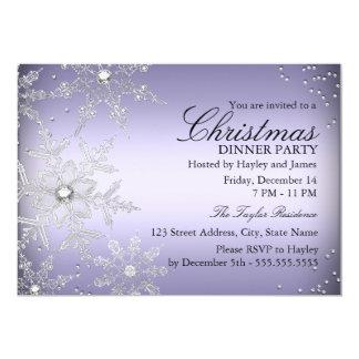 Purple Crystal Snowflake Christmas Dinner Party 13 Cm X 18 Cm Invitation Card