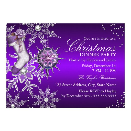 Purple Crystal Snowflake Christmas Dinner Party 2 Personalized Invite